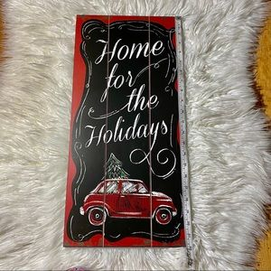 Home for the Holidays Shiplap Sign with Car Tree